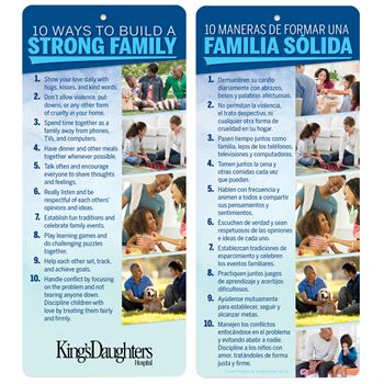 10 Ways to Build A Strong Family Two-Sided English/Spanish Glancer - Personalization Available