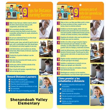 9 Tips For Distance Learning Success Two-Sided English/Spanish Glancer - Personalization Available