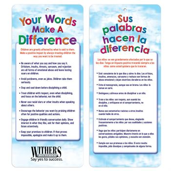 Your Words Make A Difference Two-Sided English/Spanish Glancer - Personalization Available