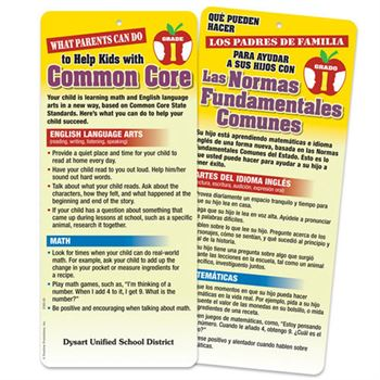 1st Grade - What Parents Can Do To Help Kids With Common Core 2-Sided Bilingual Glancer - Personalization Available