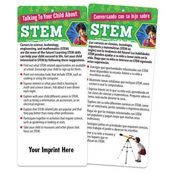 Talking To Your Child About STEM Two-Sided English/Spanish Glancer - Personalization Available