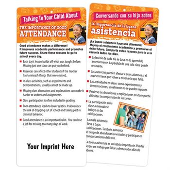 Talking To Your Child About The Importance Of Good Attendance 2-Sided Bilingual Glancer - Personalization Available