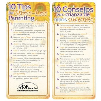 10 Tips For Stress-Less Parenting Two-Sided Bilingual Glancer - Personalization Available