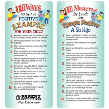 10 Ways To Set A Positive Example For Your Child Two-Sided English/Spanish Glancer - Personalization Available