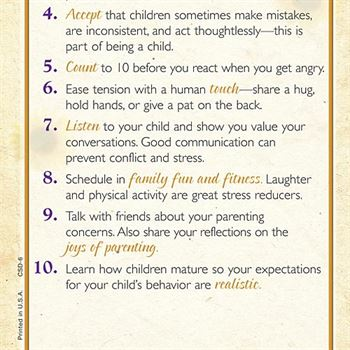 10 Tips For Stress-less Parenting Two-Sided English/Spanish Glancer