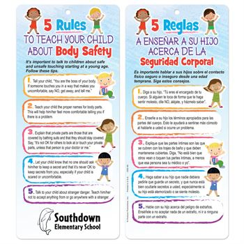 5 Rules To Teach Your Child About Body Safety Two-Sided English/Spanish Glancer - Personalization Available