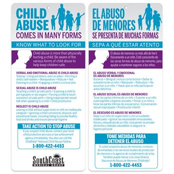 Child Abuse Comes In Many Forms Two-Sided English/Spanish Glancer - Personalization Available
