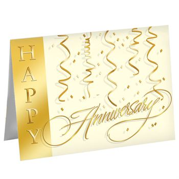 Happy Anniversary Streamers Greeting Card