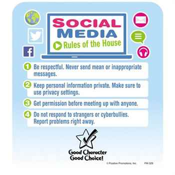 Social Media Rules Of The House Safety Magnet - Personalization Available