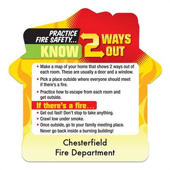 Know 2 Ways Out House-Shaped Fire Safety Magnet - Personalization Available