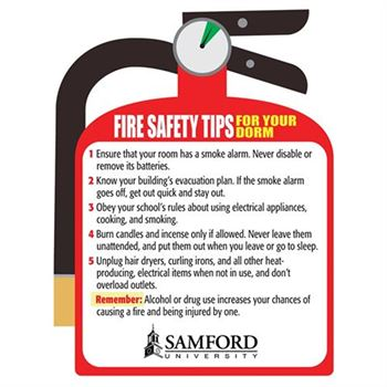 Fire Safety Tips For Your Dorm Magnet - Personalization Available