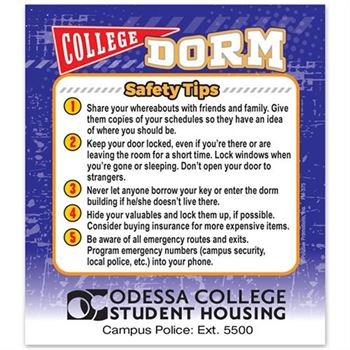 College Dorm Safety Tips Magnet - Personalization Available