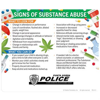 Signs of Substance Abuse Magnets