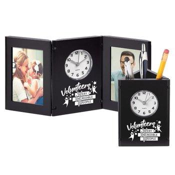 Volunteers: Very Incredible People Tri-Fold Frame Clock & Caddy