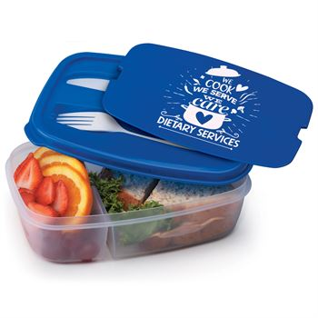 Dietary Services: We Cook, We Serve, We Care, 2-Section Food Container With Utensils