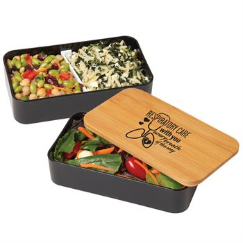 Respiratory Care With You Every Breath Of The Way 2-Tier Wheat Fiber & Bamboo Bento Box