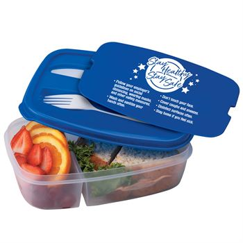Stay Healthy & Stay Safe 2-Section Food Container