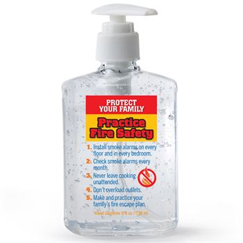 Fire Safety Tips 8-Oz. Sanitizer Gel Pump