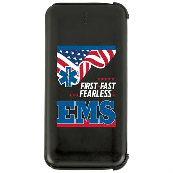 EMS: First.Fast.Fearless. 5000 mAh UL� Power Bank With Built-In Charging Cords