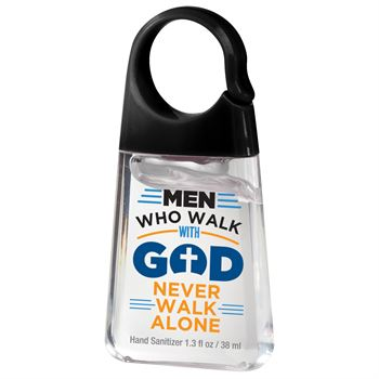 Men Who Walk With God Never Walk Alone 1.3-oz. Hand Sanitizer With Carabiner Clip - Pack of 10