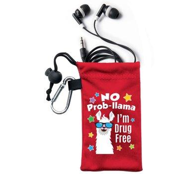 No Prob-llama: I'm Drug Free Earbuds In Microfiber Pouch