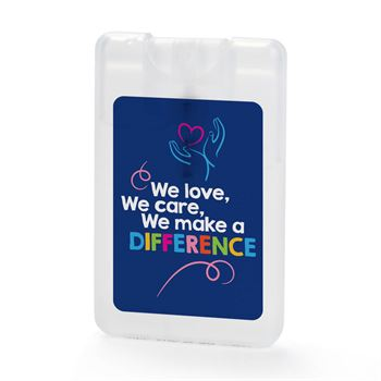 We Love, We Care, We Make A Difference Credit Card-Shaped Antibacterial Hand Sanitizer Spray