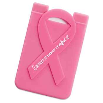 Detect It, Treat It, Defeat It Pink Ribbon Phone Wallet With Awareness Card