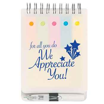 For All You Do We Appreciate You White Spiral Jotter & Pen