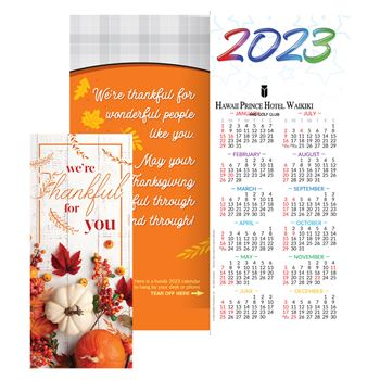 Thanksgiving 2020 Gold-Foil Stamped Holiday Greeting Card Calendar - Personalization Available