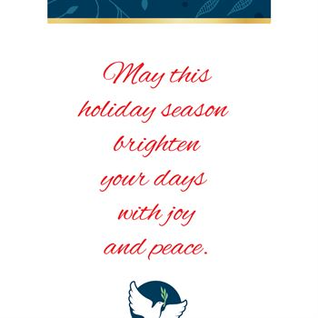 Hope, Peace & Love 2018 Gold Foil-Stamped Holiday Greeting Card Calendar - Personalization Available