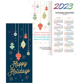 Happy Holidays 2021 Gold Foil-Stamped Holiday Greeting Card Calendar - Personalization Available