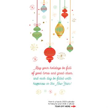 Happy Holidays 2018 Silver Foil-Stamped Holiday Greeting Card Calendar