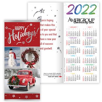 Vintage Red Truck 2022 Silver Foil-Stamped Holiday Greeting Card Calendar - Personalization Available