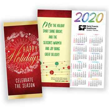 Happy Holidays Celebrate The Season 2020 Gold Foil-Stamped Holiday Greeting Card Calendar - Personalization Available