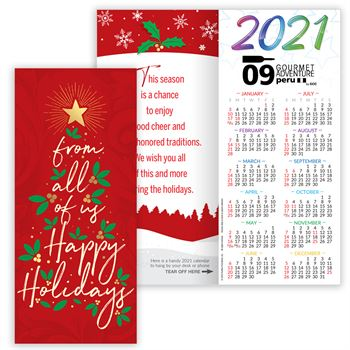 From All Of Us Happy Holidays Gold Foil-Stamped 2021 Greetings Card Calendar - Personalization Available