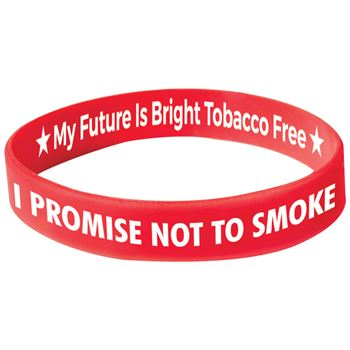 I Promise Not To Smoke Red Silicone Bracelets - Pack of 10