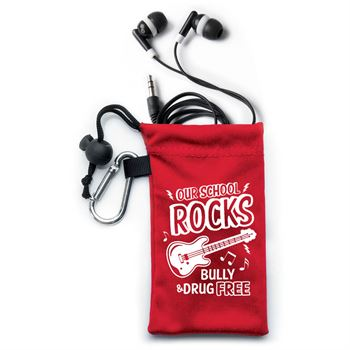 Our School Rocks Bully & Drug Free Ear Buds In Microfiber Pouch