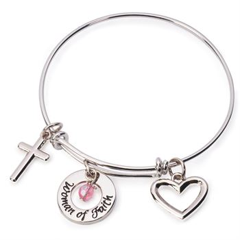 Woman of Faith Charm Bangle Bracelet