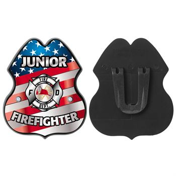 Patriotic Clip-On Junior Firefighter Badge