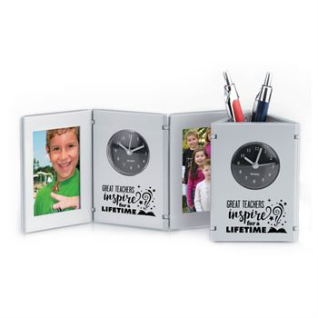 Great Teachers Inspire For A Lifetime Tri-Fold Frame Clock & Caddy