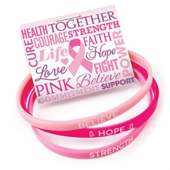 Breast Cancer Awareness Believe, Hope, Strength Mini Silicone Bracelet Trio Set With Card