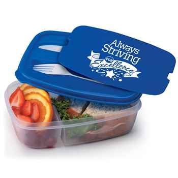 Always Striving For Excellence 2-Section Food Container With Utensils