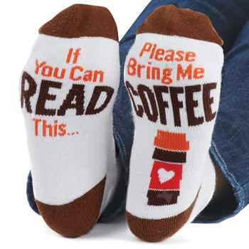 """Coffee Socks /""""IF YOU CAN READ THIS BRING ME COFFEE/"""" funny ankle socks"""