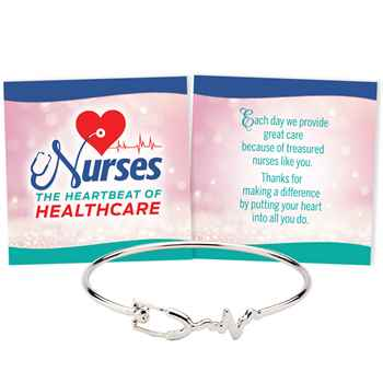 Heart & Stethoscope Metal Bracelet With Keepsake Card
