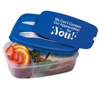 We Can't Contain Our Appreciation For You! 2-Section Food Container With Utensils