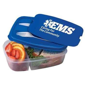 EMS: Caring For The Community 2-Section Food Container With Utensils