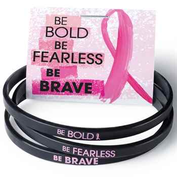 Breast Cancer Awareness Be Bold, Be Fearless, Be Brave Mini Silicone Bracelet Trio Set with Card