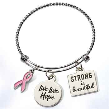 Breast Cancer Awareness Braided Wire Bangle Charm Bracelet With Reminder Card