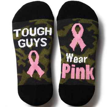 Tough Guys Wear Pink Camouflage Cushioned Ankle Socks