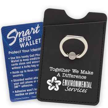 Environmental Services: Together We Make A Difference RFID Smartphone Wallet With Metal Ring Stand